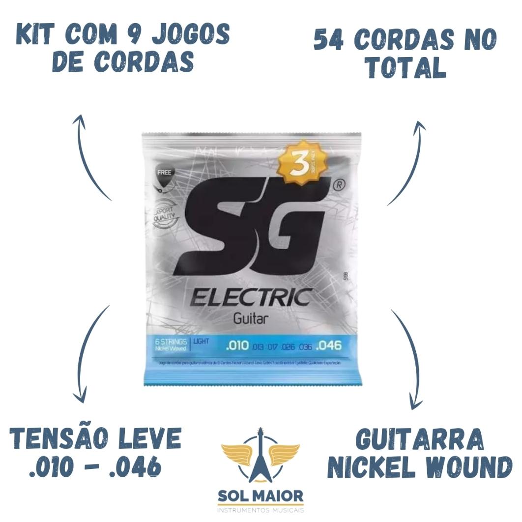 Kit 9 Encordoamento SG Guitarra 010 + 3 Mi Extra + 3 Palheta