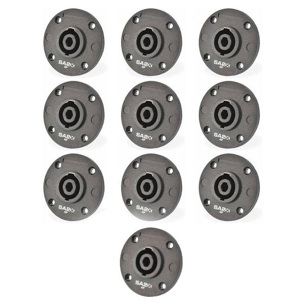 Kit c/ 10 conectores Speaker Para Caixa Painel 4P Polos SA2X
