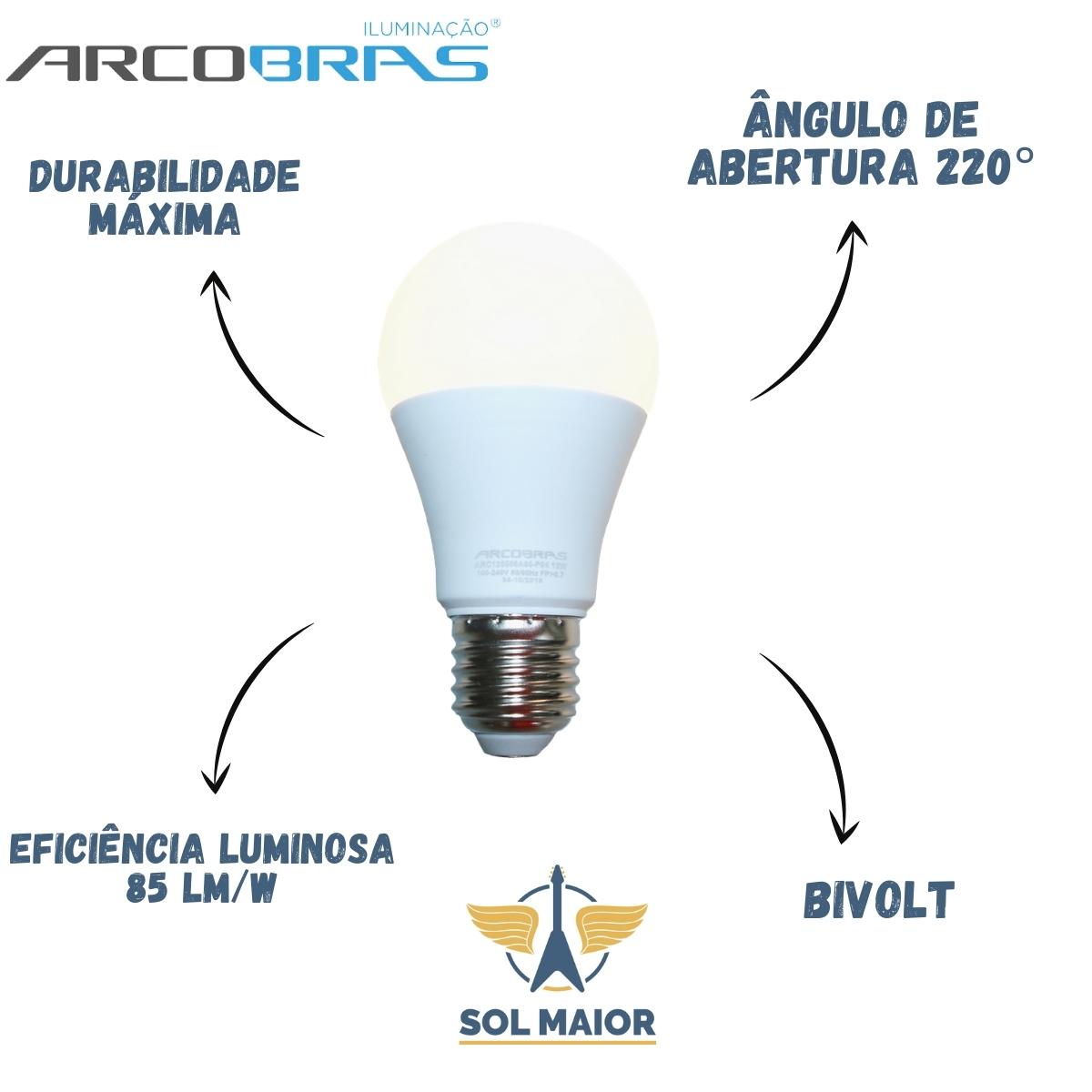 Kit com 10 Lâmpadas Led Bulbo 12w E27 Bivolt Arcobras