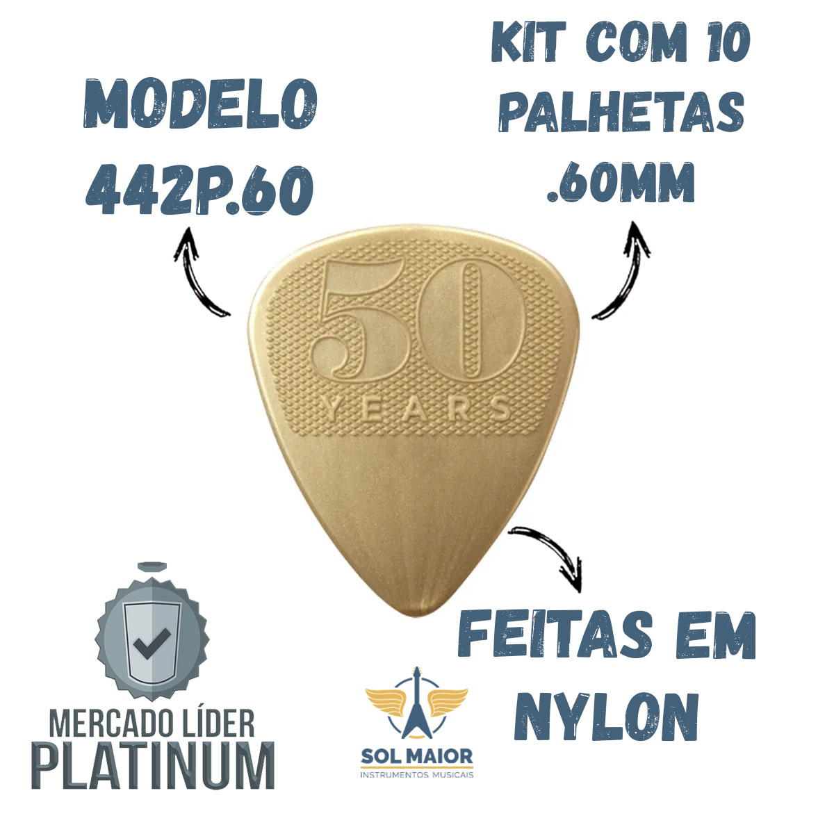 Kit com 10 Palhetas Nylon 0,60mm 50th YEARS 442P.60