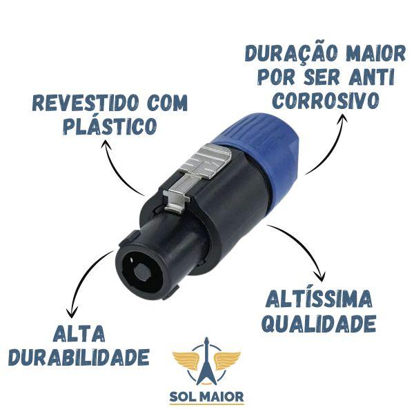 Kit com 2 Conector Rean By Neutrik Speakon Cabo Macho 4 Polos Rls4fc