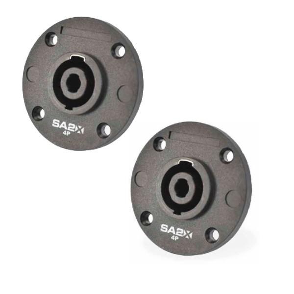 Kit com 2 conectores Speaker Para Caixa Painel 4P Polos SA2X