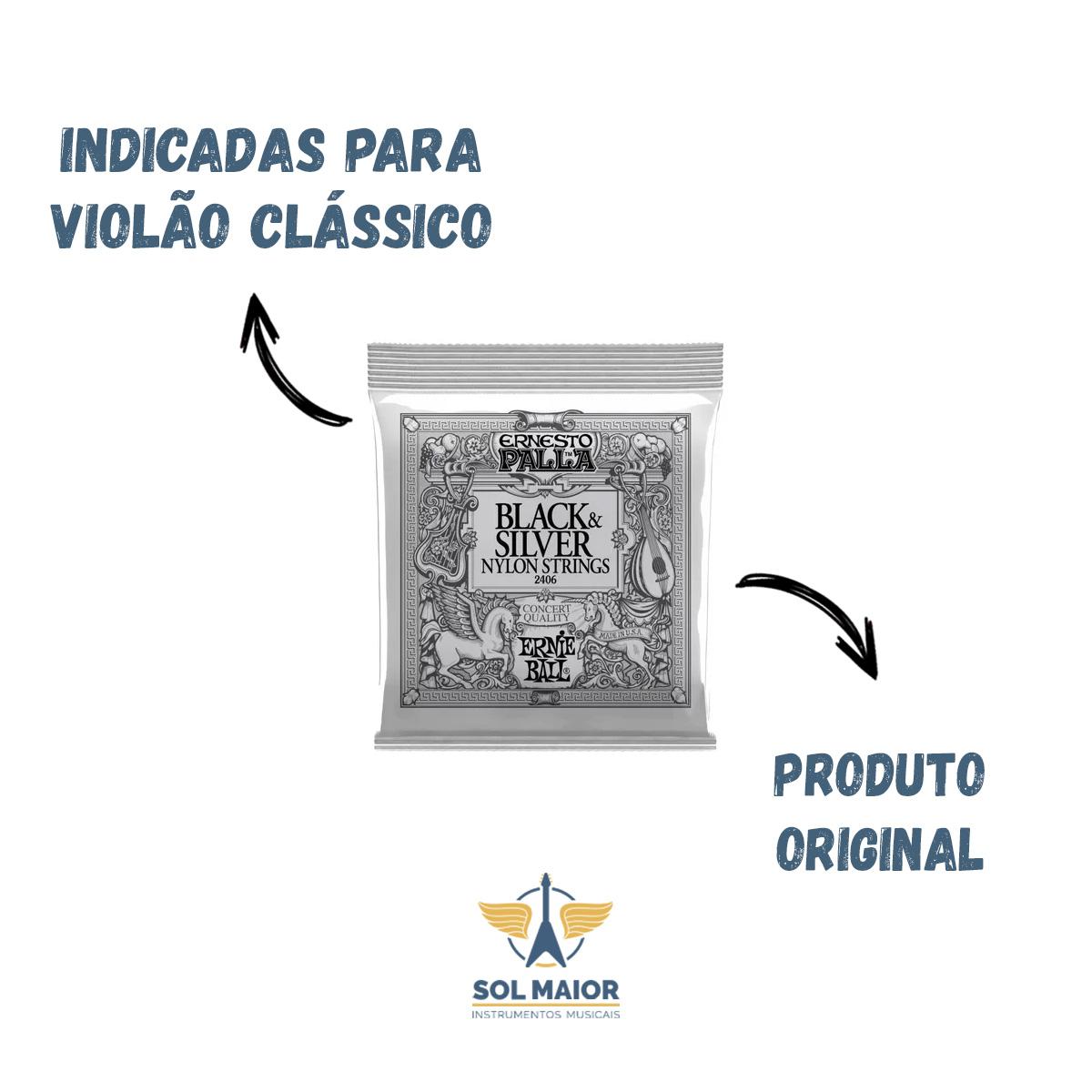 Kit com 2 Cordas de Violão Nylon Ernie Ball Ernesto Palla Black Silver