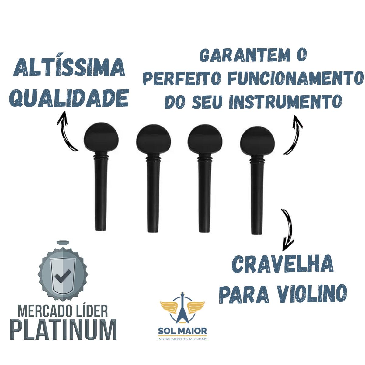 Kit com 3 Cravelha violino 4/4 Ébano Standard Dominante 8329