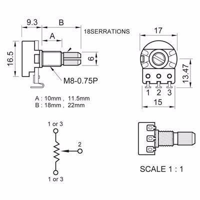 Kit Com 3 Potenciômetro Para Guitarra Vl1718h B500k - Spirit