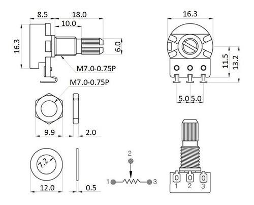 Kit Com 3 Potenciômetro T16-15k 250ka - Gotoh Made In Japan