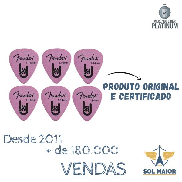 Kit com 6 Palhetas Fender Rock On 1.14 Roxa MM - 8963