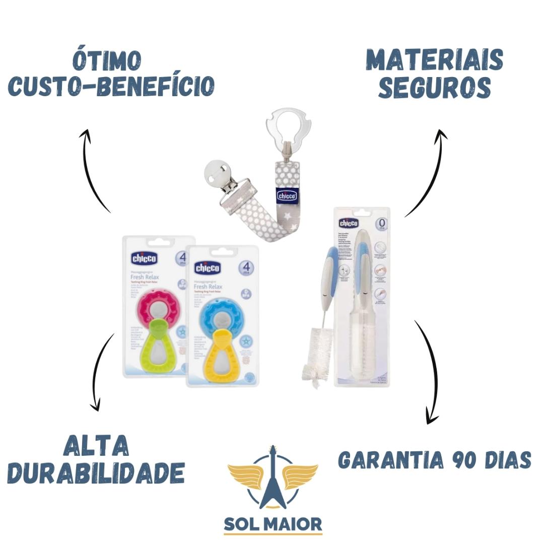 Kit com Escova pra limpeza + Prendedor de chupeta + Mordedor