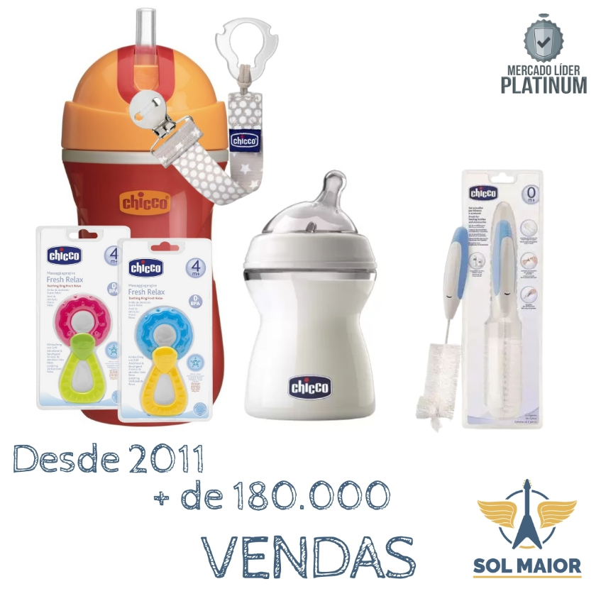 Kit com Mamadeira + Escova + Prendedor de chupeta + Mordedor