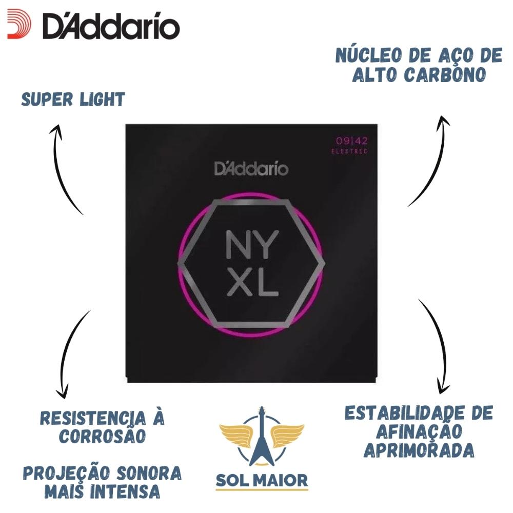 Kit Lata Daddario Guitar 09 Exl120B + Nyxl 0942 + 5 Palhetas