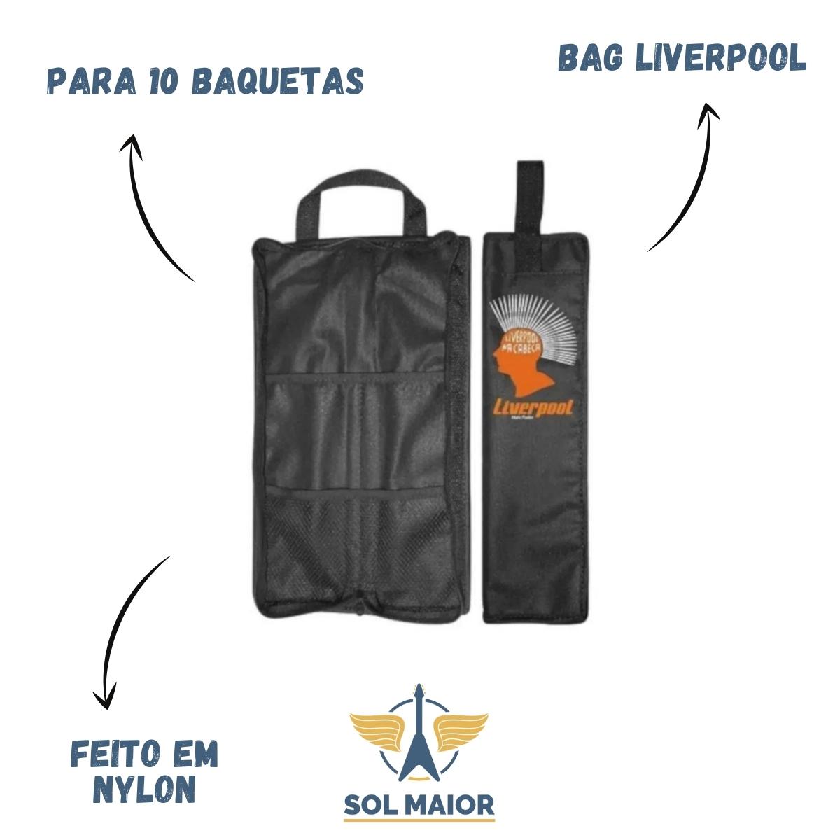 """Kit Liverpool Bag + Pad de 6"""" + 5 Pares Tennessee Jatoba 7A + Chave de Afinação"""