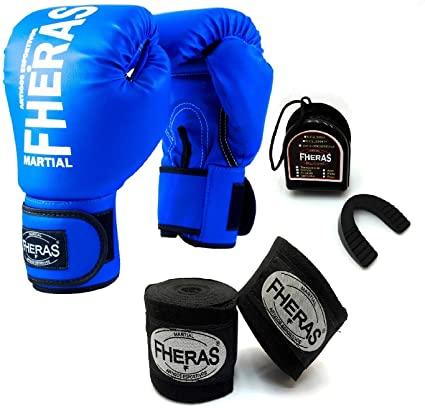 Kit Luvas Boxe Tradicional FHERAS + Bandagem e Protetor Bucal