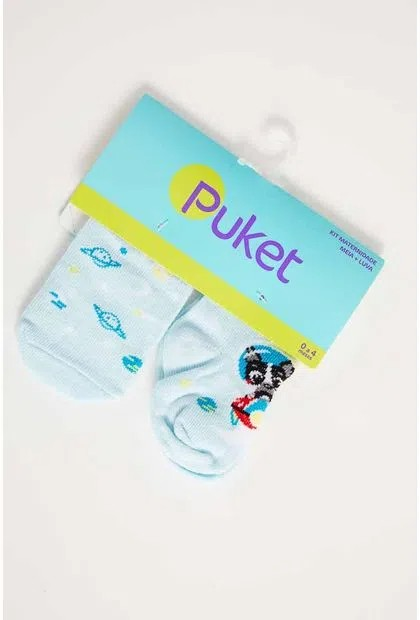 Kit Meia + Luva Azul Bebe Puket - 0 a 4 meses
