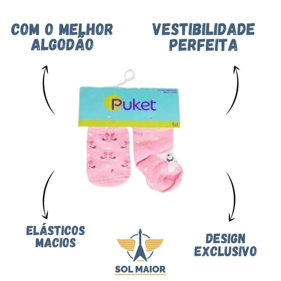 Kit Meia + Luva Rosa Puket - 0 a 4 meses