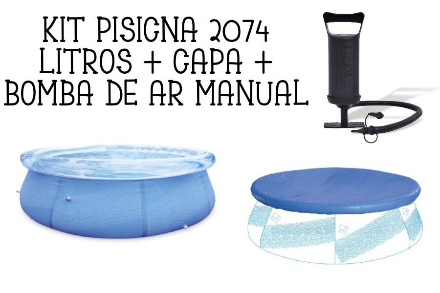 Kit Piscina Inflável 2074 Litros + Capa + Bomba de Ar VOLLO