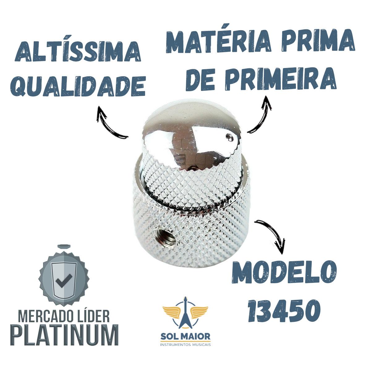 Knob Metal Guitarra push pull Largo Curto Cromado dolphin 13450