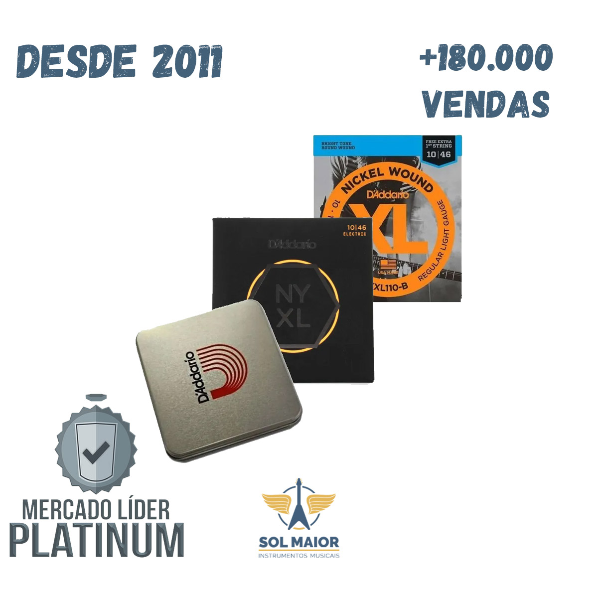 Lata Daddario Guitar 010 Exl110B + Nyxl 1046 + 5 Palhetas