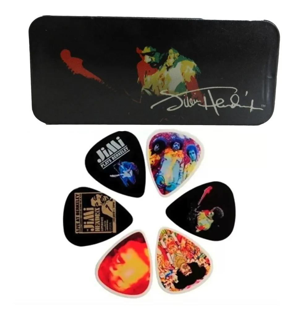 Latinha c/ 12 Palhetas Jimi Hendrix Grossa Média Dunlop 5782