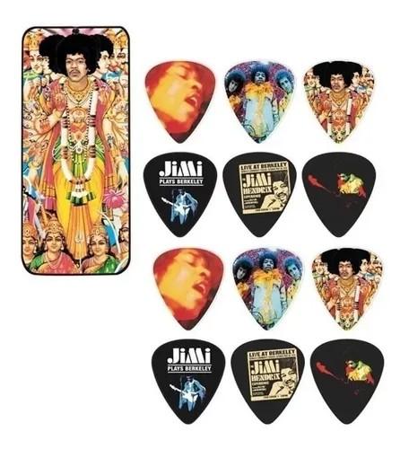 Latinha c/ 12 Palhetas Jimi Hendrix Grossa Média Dunlop 5799