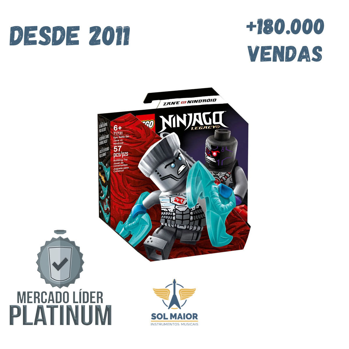 Lego 71731 Ninjago Conjunto Combate Épico - Zane Vs Nindroid