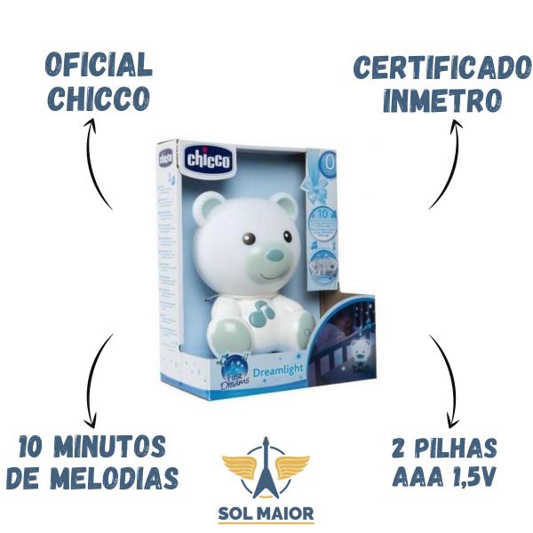 Luminaria Ursinho Bons Sonhos Chicco Azul DREAM LIGHT