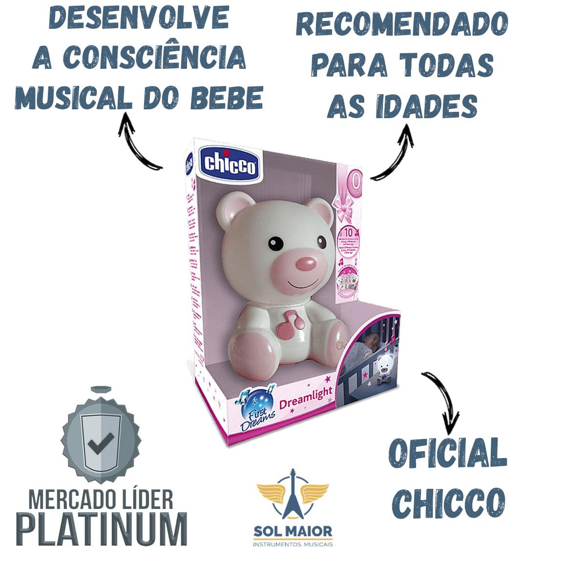 Luminaria Ursinho Bons Sonhos Chicco Rosa dream light