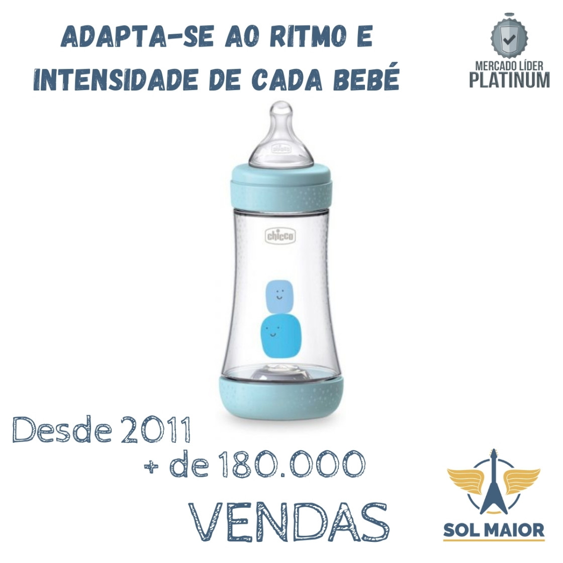 Mamadeira Chicco Perfect5 240ml (Fluxo Medio) - Azul