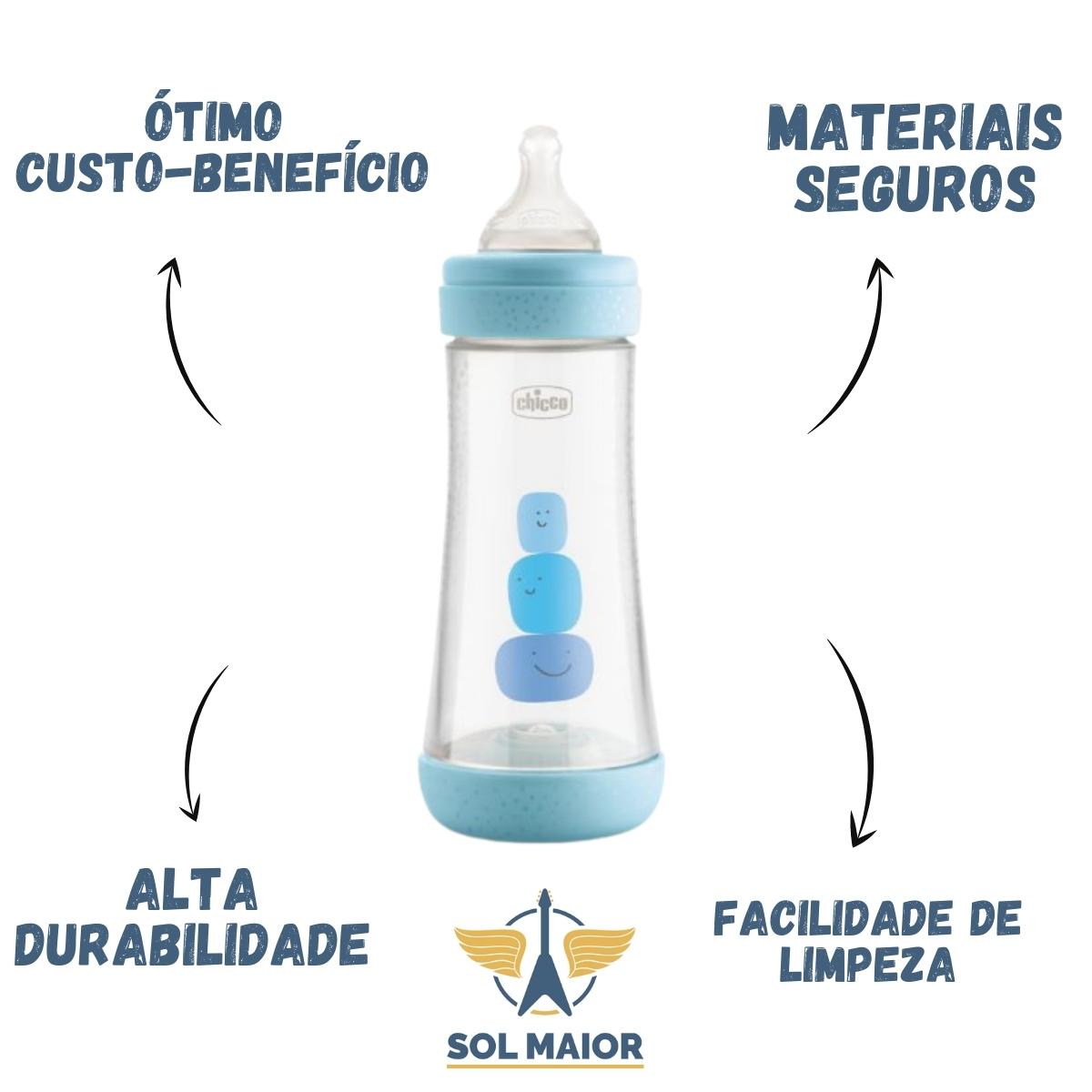 Mamadeira Chicco Perfect5 330ml (Fluxo Rápido) - Azul