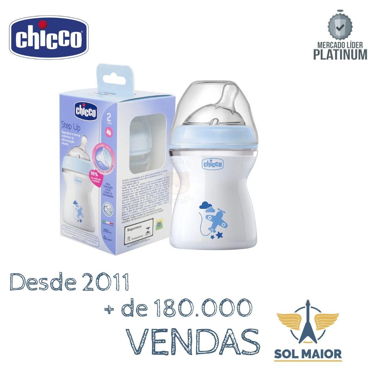 Mamadeira Step Up 250ml 2m+ Azul - Chicco