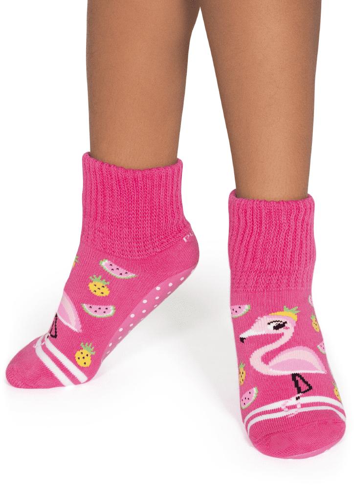 Meia Botinha Kids Puket Pansocks Rosa Flamingo - 30 a 33