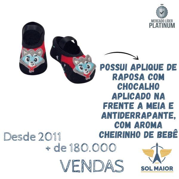 Meia Sapatilha Baby Puket Preto 5 a 8 meses Chocalho Raposa