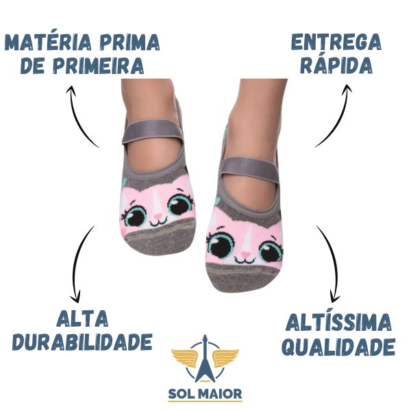 Meia Sapatilha Puket 3D Cinza Gatinho Rosa - 23 a 27
