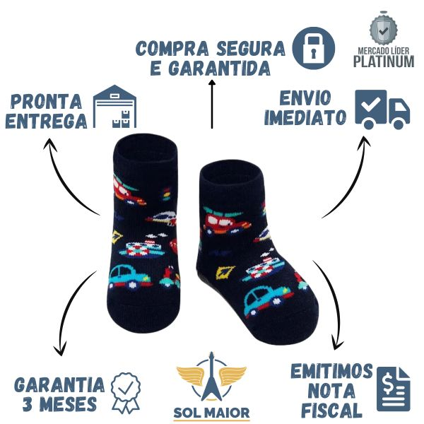 Meia Soquete Pansock Puket Baby Azul Transportes - 19 a 22