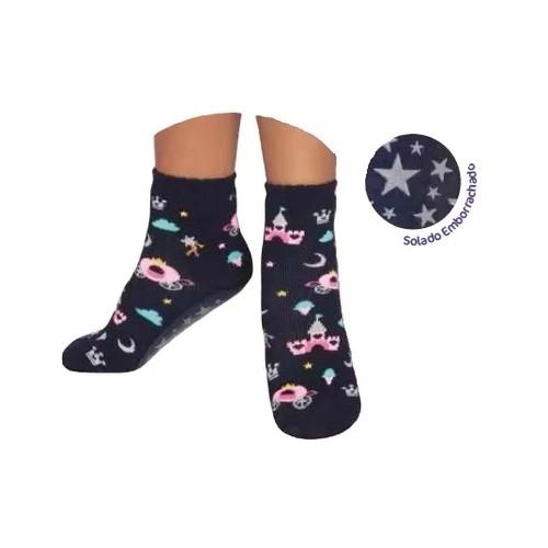 Meia Soquete Pansock Puket Azul Estrelas e Castelos- 22 a 25