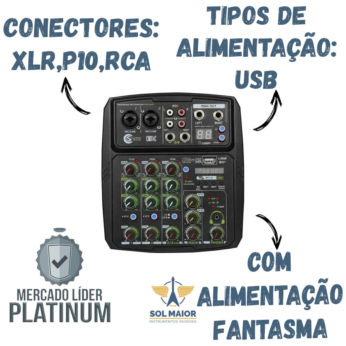 Mesa De Som Custom Sound Cmx 4c Usb Bt Preto Mixer Cmx4c Bk