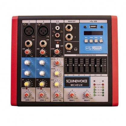 Mesa De Som Soundvoice MC4 EUX Usb Mixer 4 Canais