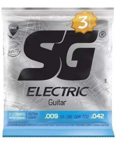 Pack com 6 jogos de cordas SG para Guitarra .09