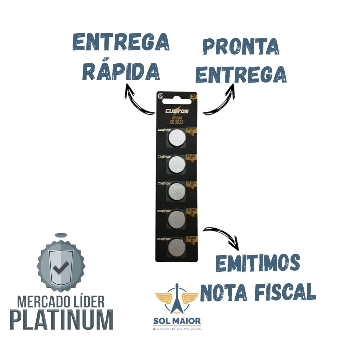 Pacote Com 5 Bateria Moeda Cr2032 3v Lithium Custom Power