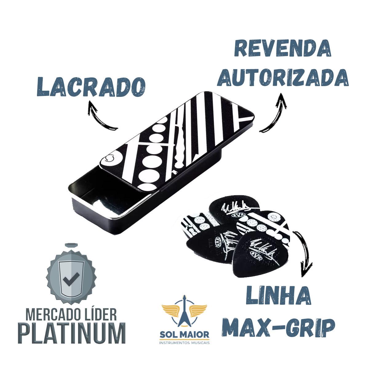 Palheta Maxgrip 0.60mm Eddie Van Halen Branca E Preta Circulos