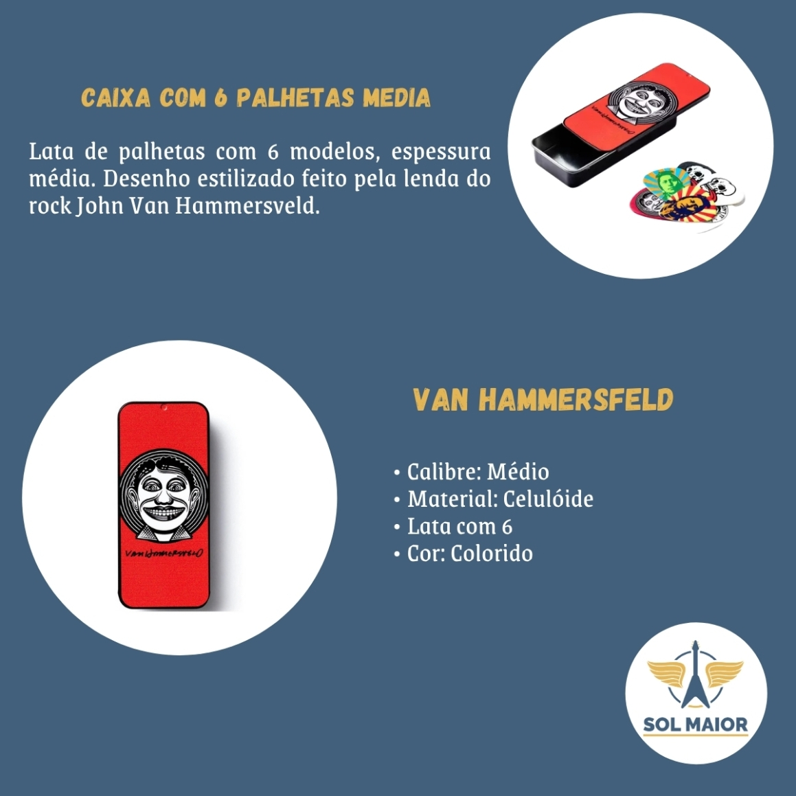 Palheta Media Van Hammersfeld Caixa Com 6 Dunlop