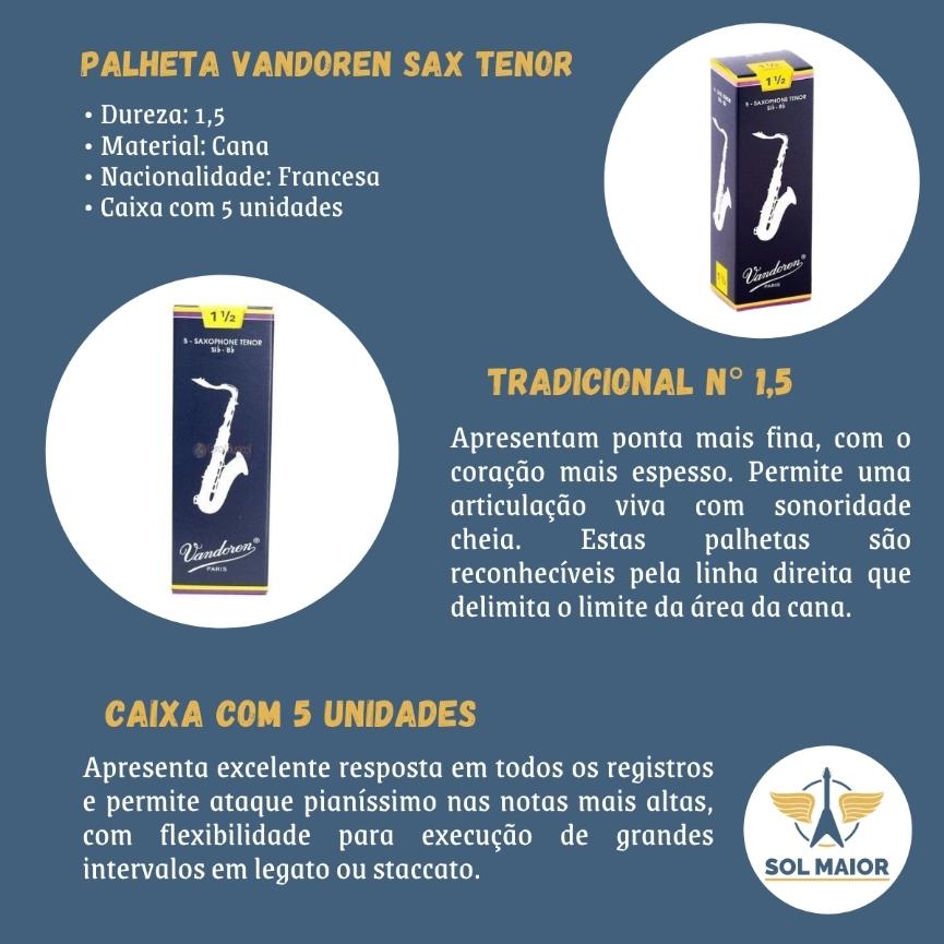 Palheta P/ Sax Tenor Vandoren Tradicional 1.5 Caixa com 5