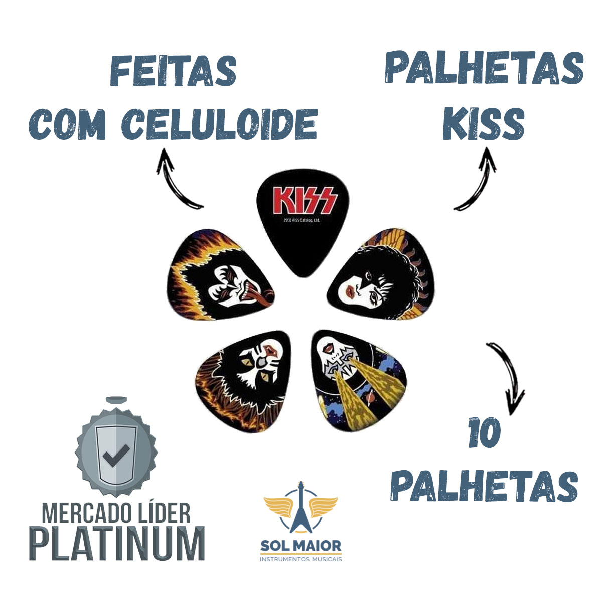 Palheta Planet Waves 1cbk4-10k2 Signature Kiss Celuloide