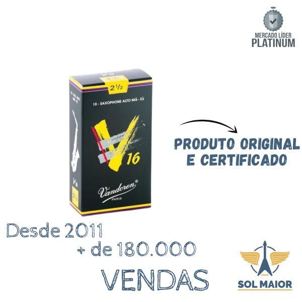 Palheta V16 2,5 para Sax Alto c/ 10 unidades SR7025 Vandoren