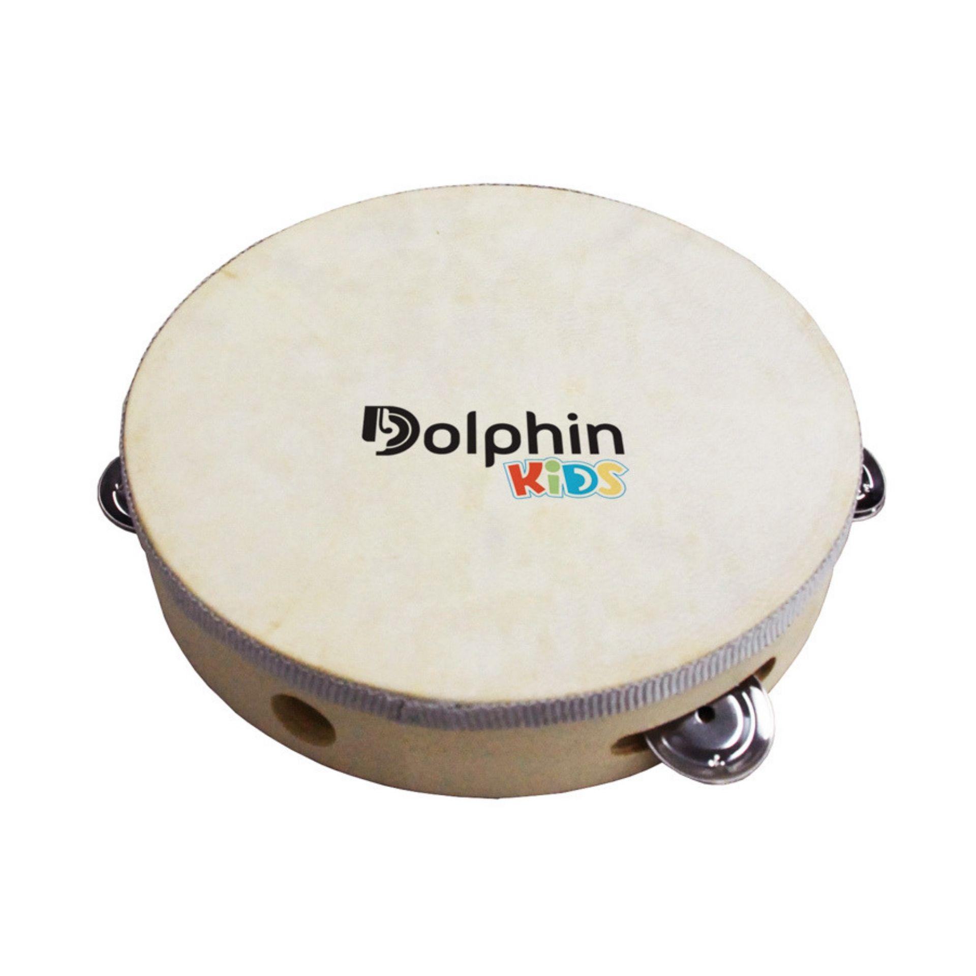 Pandeiro Infantil 8 Pol Madeira com Pele Animal Dolphin 8459