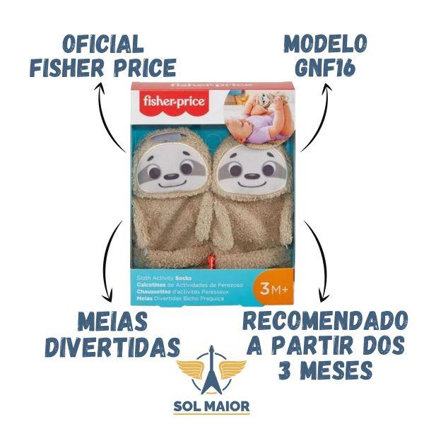 Par de Meias Divertidas Bicho Preguiça Fisher Price 3 meses