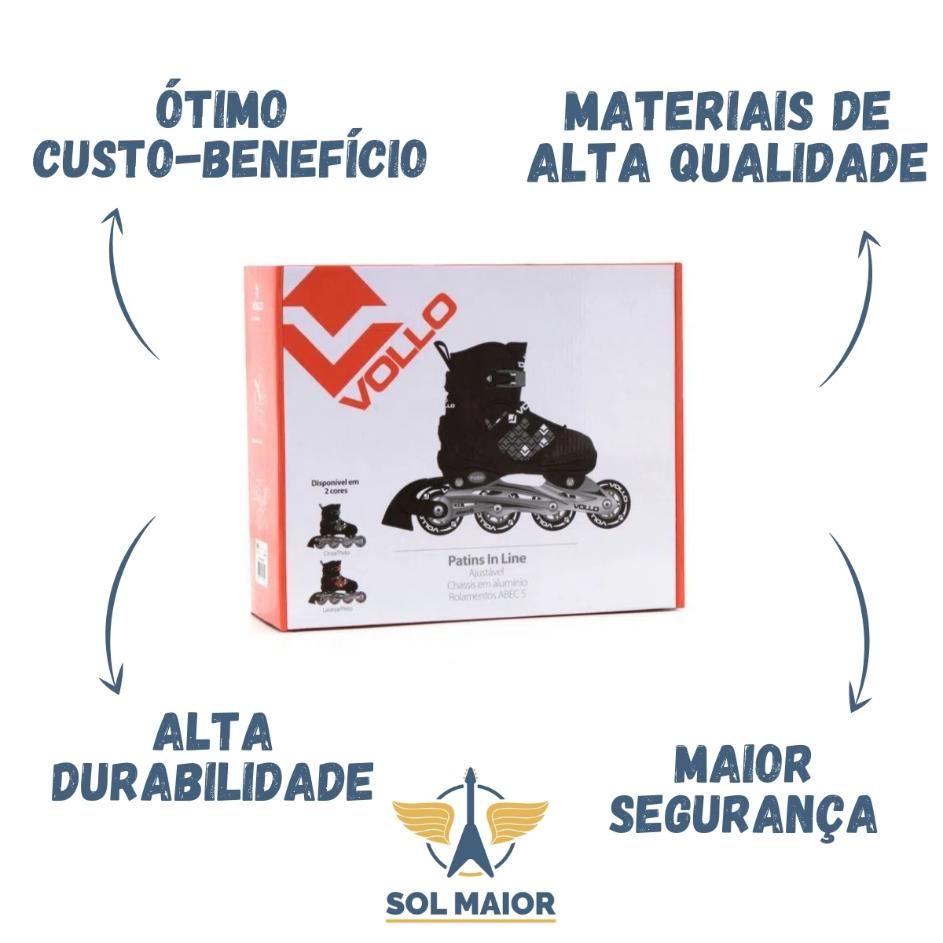 Patins In Line Ajustável Unissex ABEC5 + Capacete - Vollo