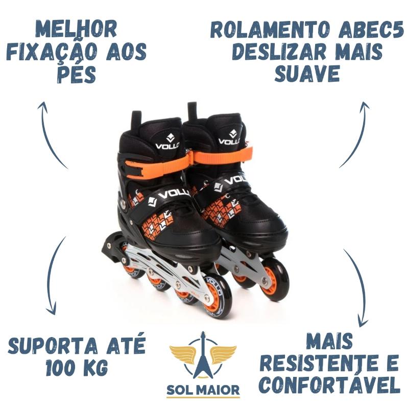 Patins In Line Ajustável Unissex ABEC5 - Vollo Sports