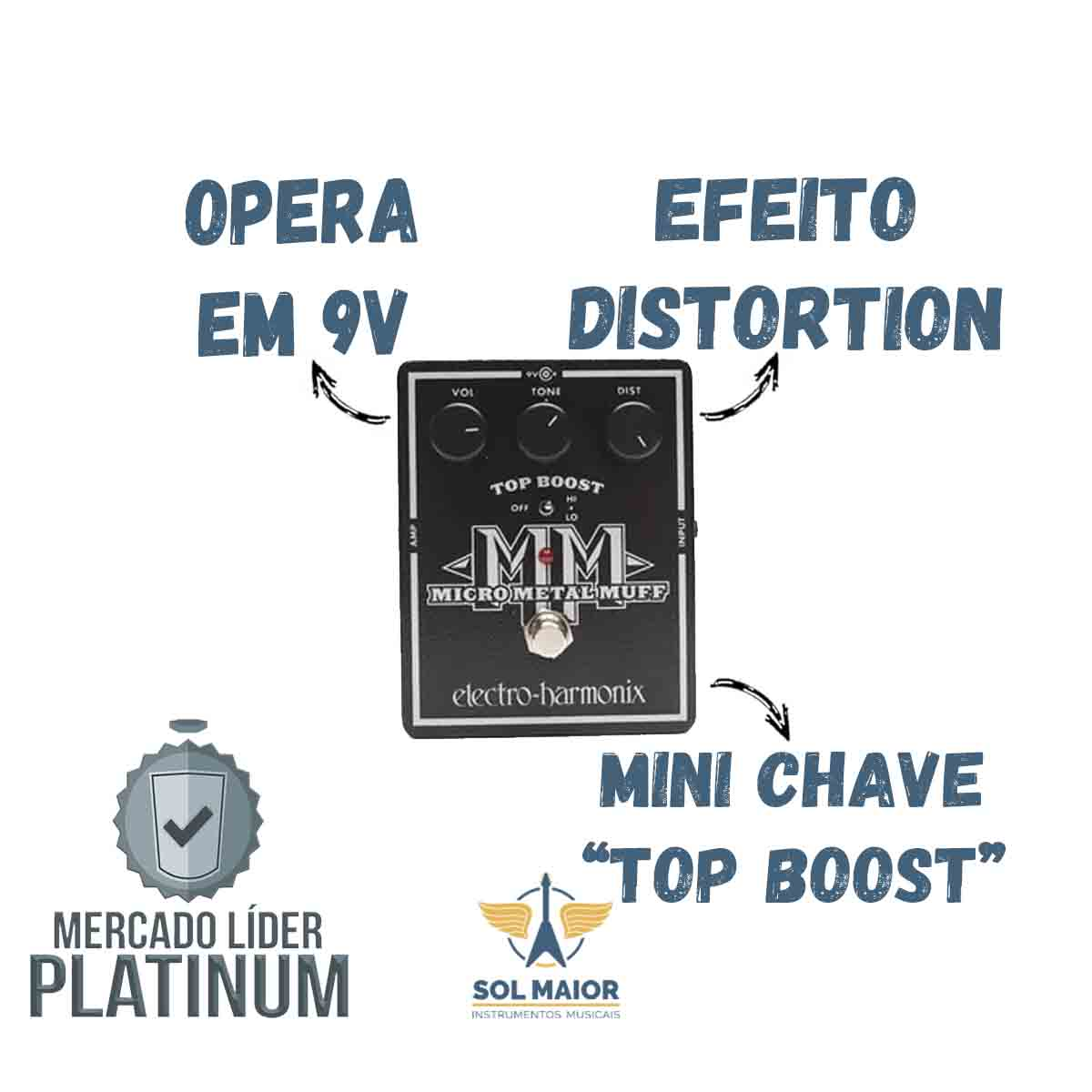 Pedal Electro-harmonix Micro Metal Muff Distortion With Top Boost