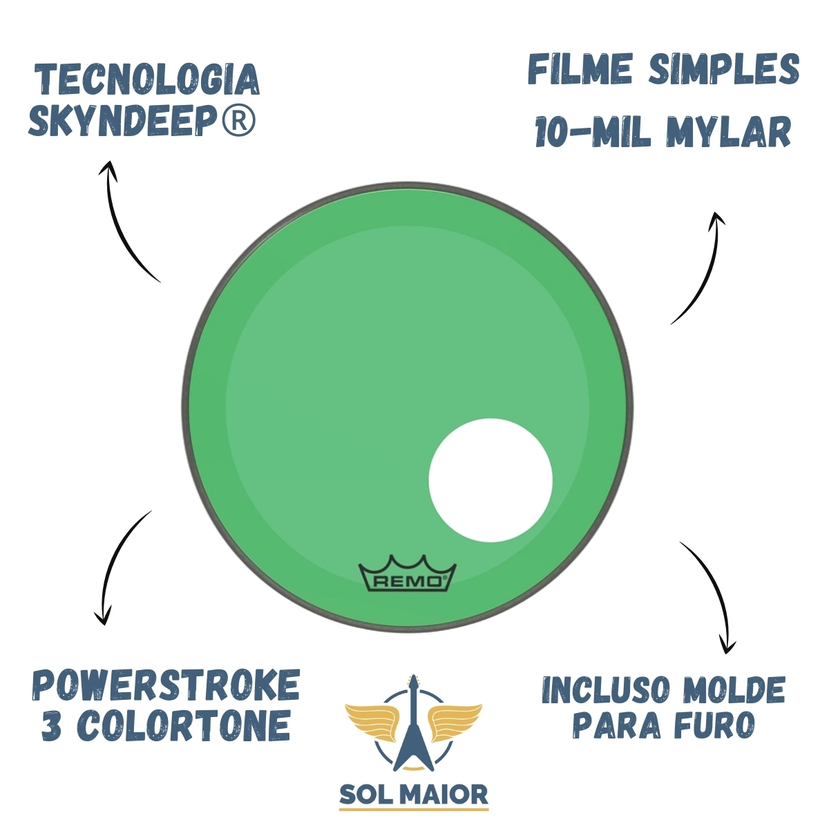 "Pele Bumbo 18"" Powerstroke 3 C/ Furo Verde P3-1318-CT-GN"