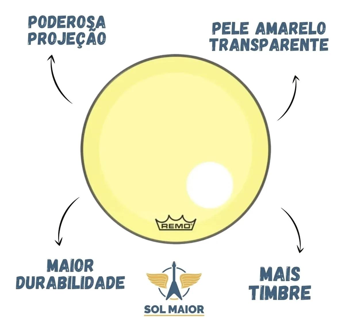 "Pele Bumbo 20"" Powerstroke 3 C/ Furo Amarelo P3-1320-CT-YE"